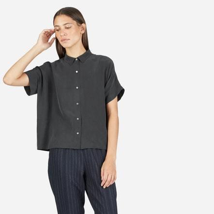 The Silk Short-Sleeve Square Shirt - Washed Black