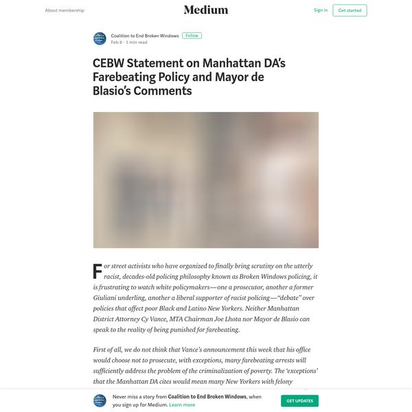 CEBW Statement on Manhattan DA's Farebeating Policy and Mayor de Blasio's Comments