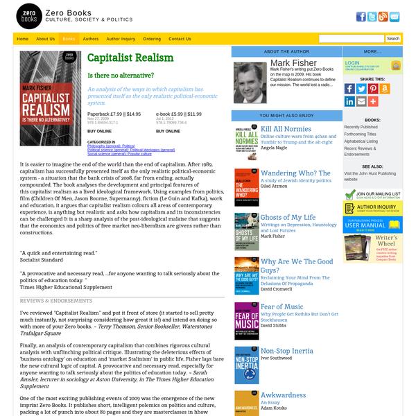 Capitalist Realism || Zero Books || Book Info