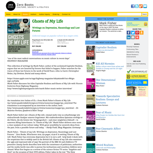 Ghosts of My Life || Zero Books || Book Info