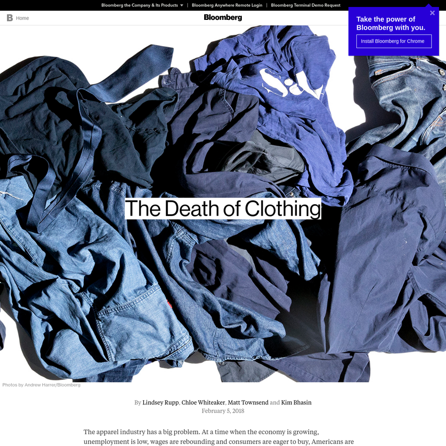 The apparel industry has a big problem. At a time when the economy is growing, unemployment is low, wages are rebounding and consumers are eager to buy, Americans are spending less and less on clothing. The woes of retailers are often blamed on Amazon.com Inc. and its vise grip on e-commerce shoppers.
