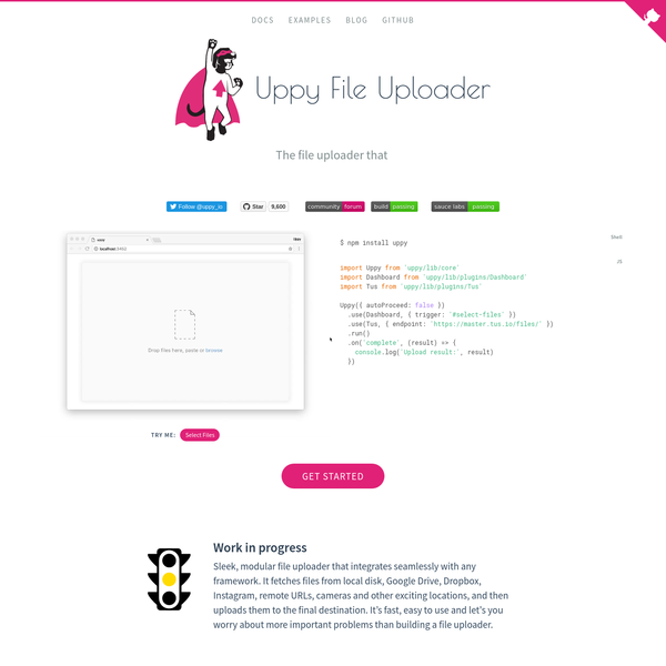 Sleek, modular file uploader that integrates seamlessly with any framework. It fetches files from local disk, Google Drive, Dropbox, Instagram, remote URLs, cameras and other exciting locations, and then uploads them to the final destination. It's fast, easy to use and let's you worry about more important problems than building a file uploader.