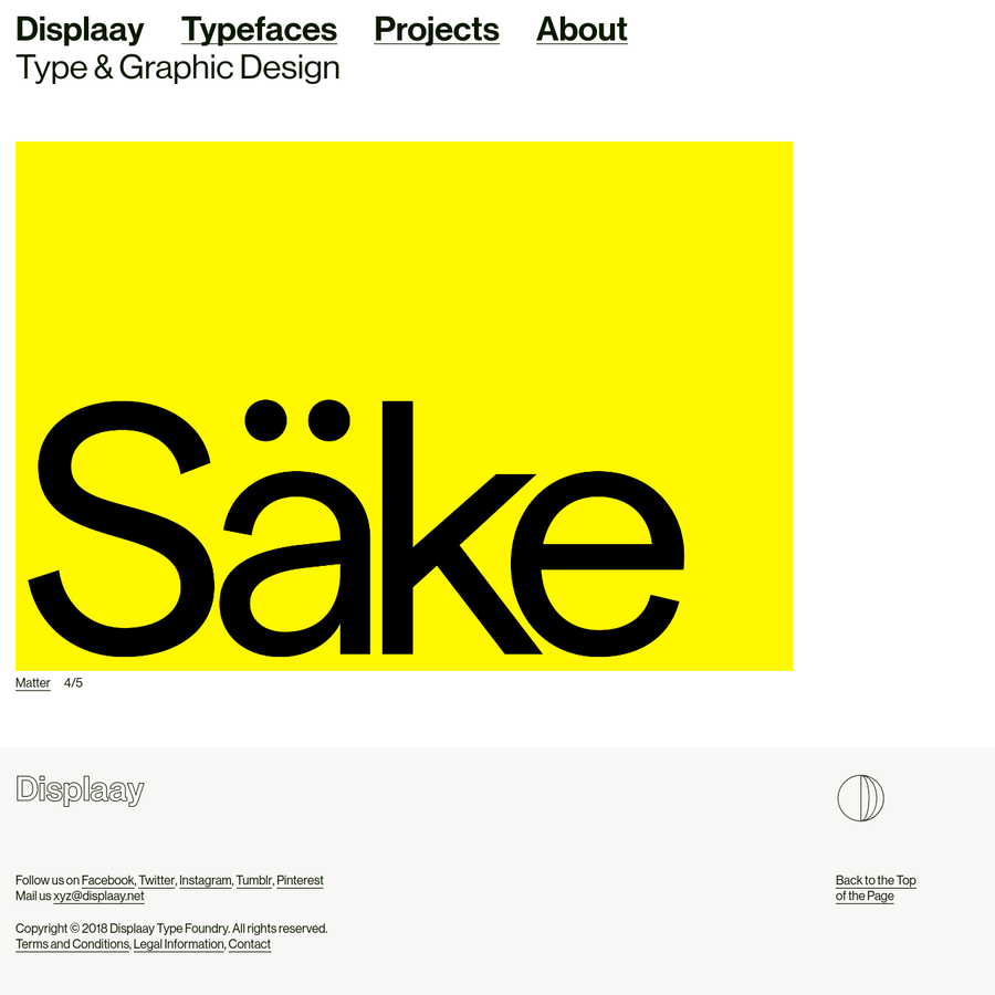 Copyright © 2018 Displaay Type Foundry. All rights reserved. Terms and Conditions, Legal Information, Contact