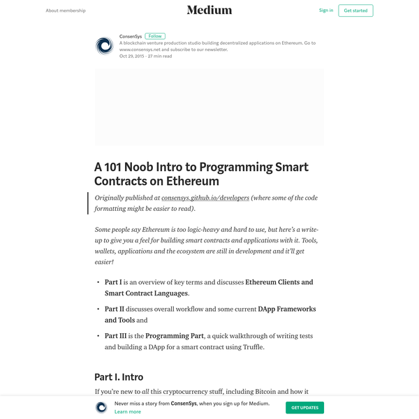 Originally published at consensys.github.io/developers (where some of the code formatting might be easier to read). Some people say Ethereum is too logic-heavy and hard to use, but here's a write-up to give you a feel for building smart contracts and applications with it. Tools, wallets, applications and the ecosystem are still in development and it'll get easier!