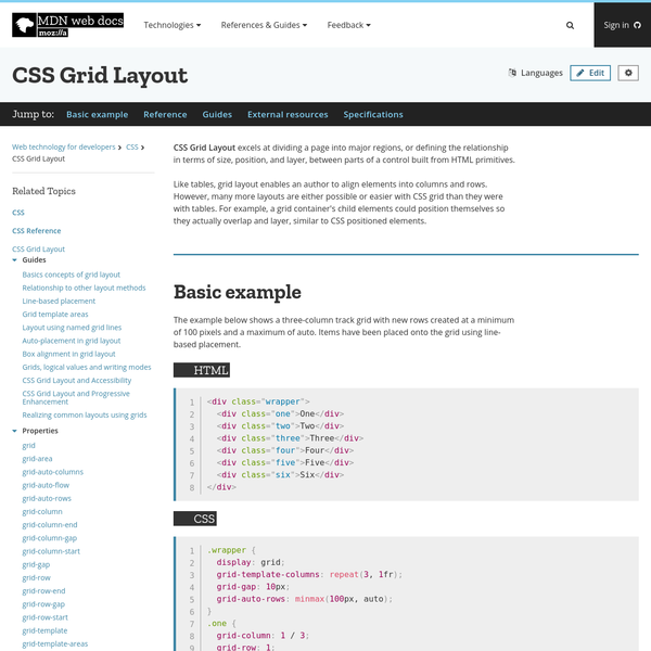 CSS Grid Layout excels at dividing a page into major regions, or defining the relationship in terms of size, position, and layer, between parts of a control built from HTML primitives.