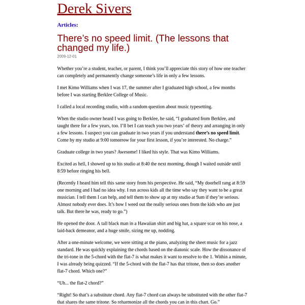 There's no speed limit. (The lessons that changed my life.) | Derek Sivers