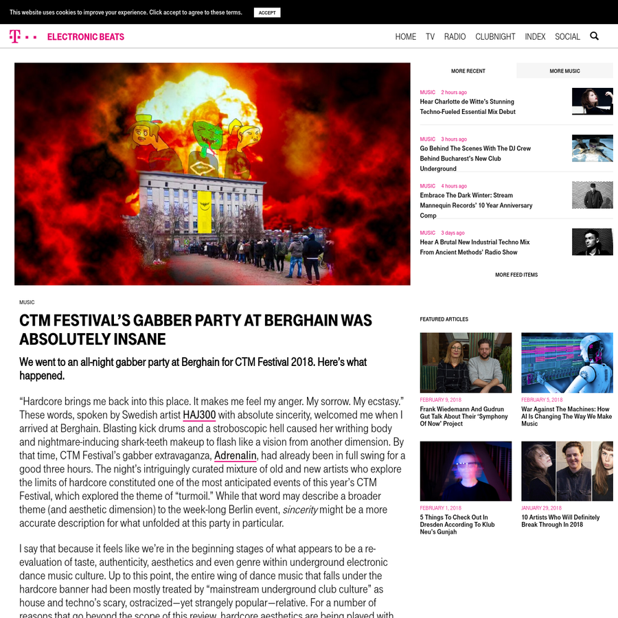 We went to an all-night gabber party at Berghain for CTM Festival 2018. Here's what happened.