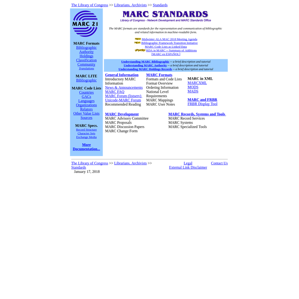 The MARC formats are standards for the representation and communication of bibliographic and related information in machine-readable form.