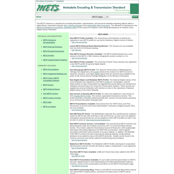 The METS schema is a standard for encoding descriptive, administrative, and structural metadata regarding objects within a digital library, expressed using the XML schema language of the World Wide Web Consortium. The standard is maintained in the Network Development and MARC Standards Office of the Library of Congress, and is being developed as an initiative of the Digital Library Federation.