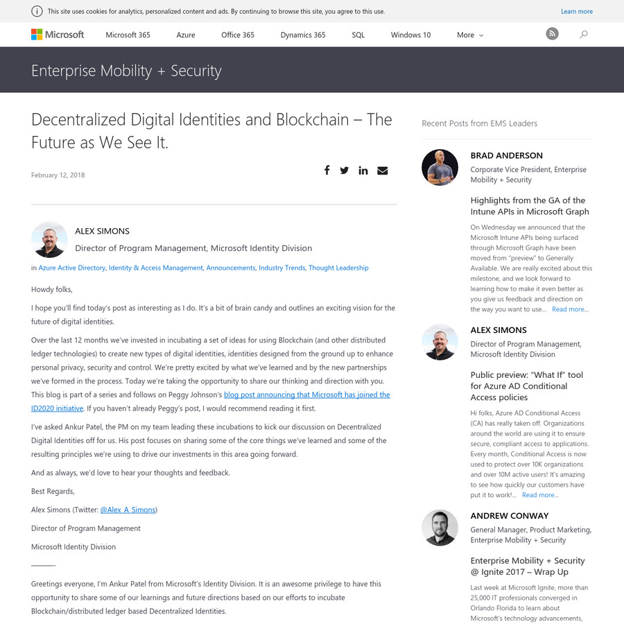Howdy folks, I hope you'll find today's post as interesting as I do. It's a bit of brain candy and outlines an exciting vision for the future of digital identities.