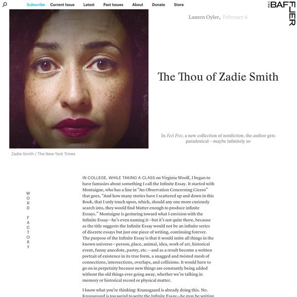 The Thou of Zadie Smith | Lauren Oyler