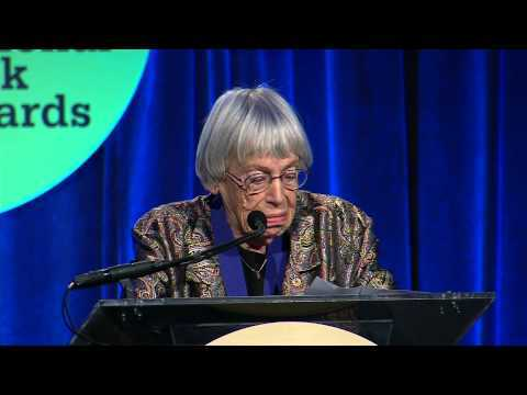 Ursula K. Le Guin accepts the National Book Foundation's Medal for Distinguished Contribution to American Letters at the 65th National Book Awards on November 19, 2014.