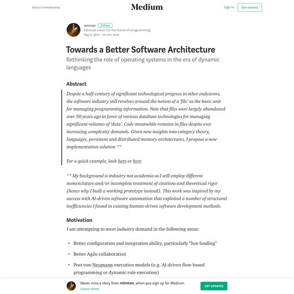 Towards a Better Software Architecture - reinman - Medium
