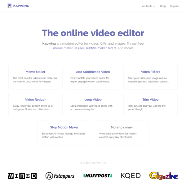 Kapwing is a modern editor for videos, GIFs, and images. Try our free meme maker, resizer, subtitle maker, filters, and more!