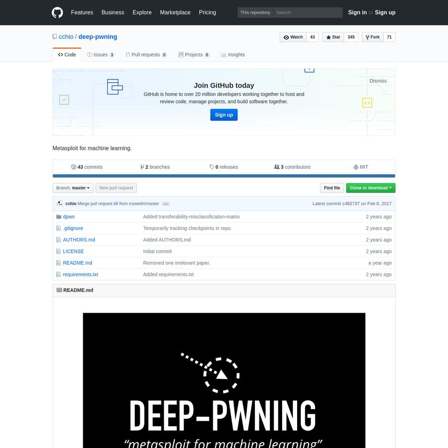 deep-pwning - Metasploit for machine learning.
