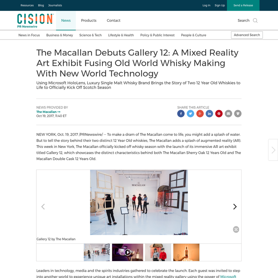 Leaders in technology, media and the spirits industries gathered to celebrate the launch. Each guest was invited to step into another world to experience unique art installations within the mixed reality gallery using the power of Microsoft HoloLens.