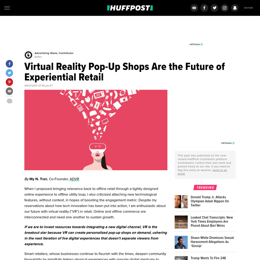 """When I proposed bringing relevance back to offline retail through a tightly designed online experience to offline utility loop, I also criticized attaching new technological features, without context, in hopes of boosting the engagement metric. Despite my reservations about how tech innovation has been put into action, I am enthusiastic about our future with virtual reality (""""VR"""") in retail."""