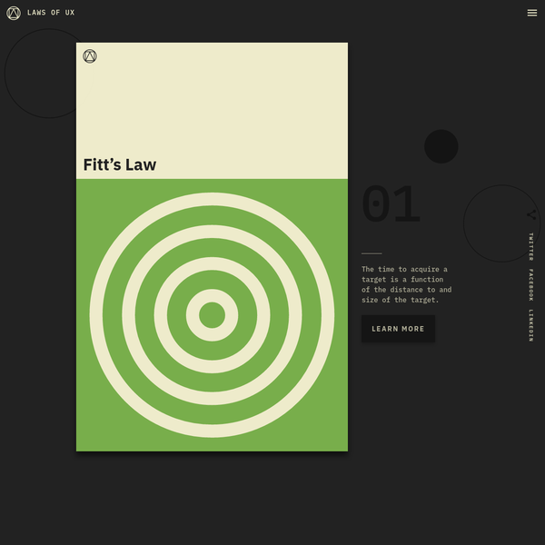 Laws of UX is a collection of the maxims and principles that designers can consider when building user interfaces.