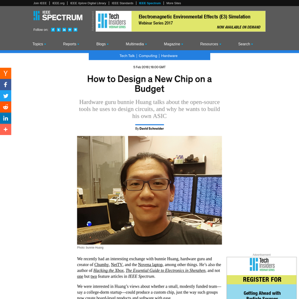 We recently had an interesting exchange with bunnie Huang, hardware guru and creator of Chumby, NetTV, and the Novena laptop, among other things. He's also the author of Hacking the Xbox , The Essential Guide to Electronics in Shenzhen , and not one but two feature articles in IEEE Spectrum.