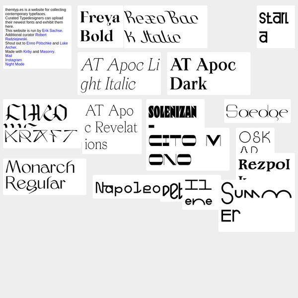 Typedesigner Showcase for Contemporary Typefaces. Archieve for Typedesign.