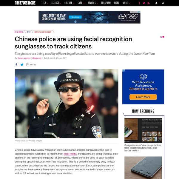 """China's police have a new weapon in their surveillance arsenal: sunglasses with built-in facial recognition. According to reports from local media, the glasses are being tested at train stations in the """"emerging megacity"""" of Zhengzhou, where they'll be used to scan travelers during the upcoming Lunar New Year migration."""