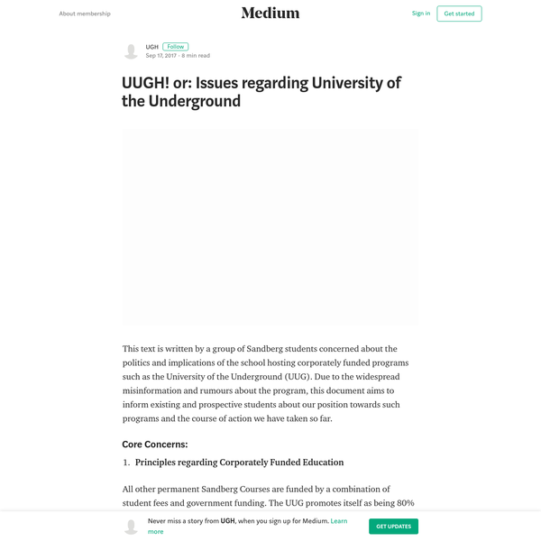 UUGH! or: Issues regarding University of the Underground