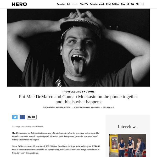 Top image: Mac DeMarco in HERO 11. Mac DeMarco is a word-of-mouth phenomenon, which is impressive given the sprawling, online world. The Canadian owns that warped, coupla-plays-left blissed-out sonic that spawned spawned a new sound - and nothing's better than the original. Today, DeMarco releases his new record, This Old Dog.