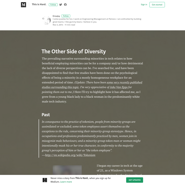 The prevailing narrative surrounding minorities in tech relates to how beneficial employing minorities can be for a company and/or how detrimental the lack of diverse perspectives can be. I've searched for, and have been disappointed to find that few studies have been done on the psychological effects of being a minority in a mostly homogeneous workplace for an extended period of time.