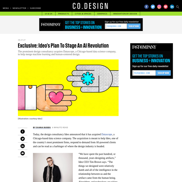 Today, the design consultancy Ideo announced that it has acquired Datascope, a Chicago-based data science company. The acquisition is meant to help Ideo, one of the country's most prominent firms, respond to demand from AI-powered clients and can be read as a harbinger of where the design industry is headed.