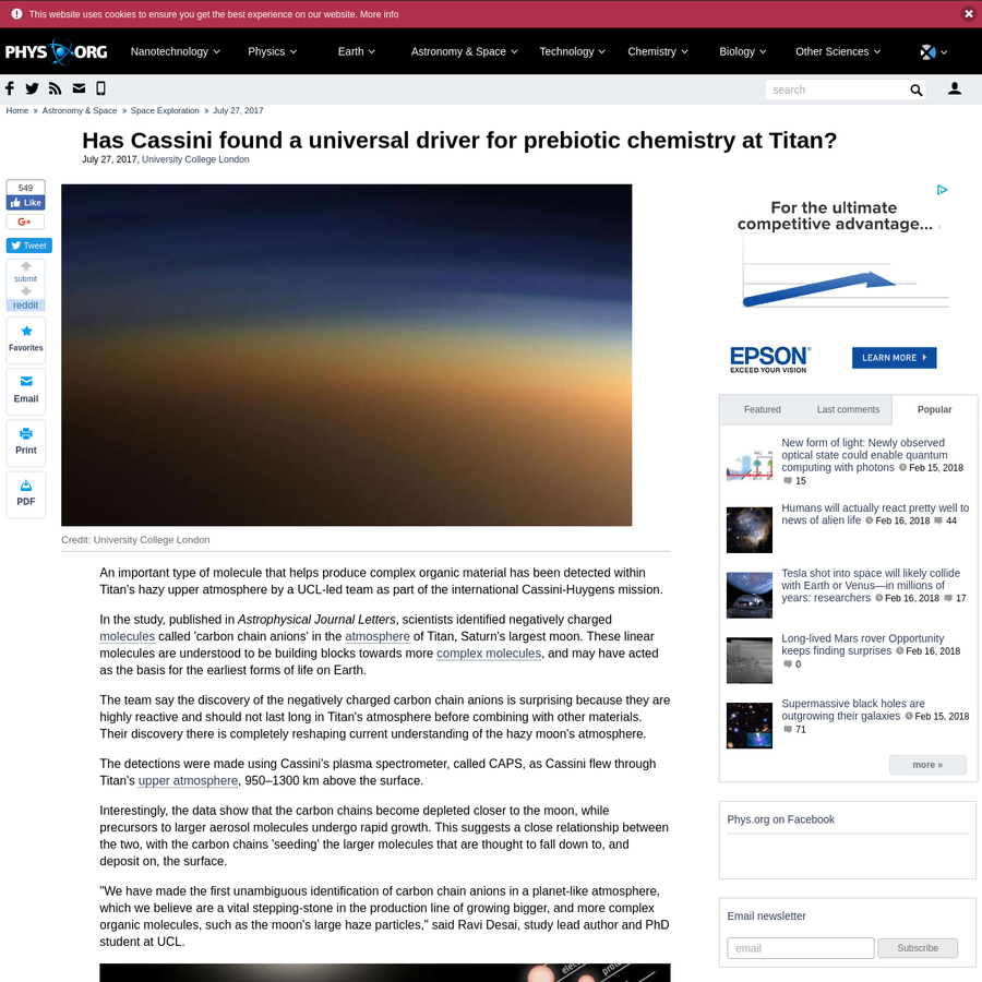 An important type of molecule that helps produce complex organic material has been detected within Titan's hazy upper atmosphere by a UCL-led team as part of the international Cassini-Huygens mission. In the study, published in Astrophysical Journal Letters, scientists identified negatively charged molecules called 'carbon chain anions' in the atmosphere of Titan, Saturn's largest moon.