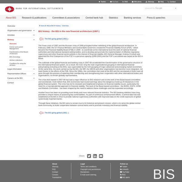 BIS history - the BIS in the new financial architecture (1997-)