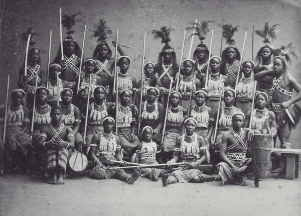 A Fon all-female military regiment of the Kingdom of Dahomey in Africa, one time considered the most feared women in the world.
