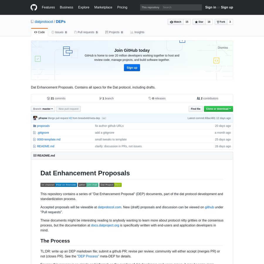 DEPs - Dat Enhancement Proposals. Contains all specs for the Dat protocol, including drafts.