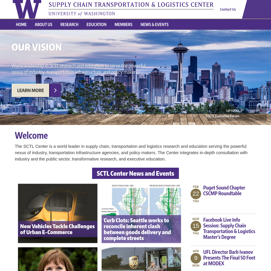 The SCTL Center is a world leader in supply chain, transportation and logistics research and education serving the powerful nexus of industry, transportation infrastructure agencies, and policy makers. The Center integrates in-depth consultation with industry and the public sector, transformative research, and executive education.