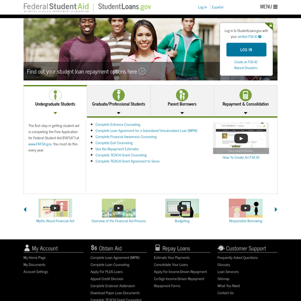 Log in to StudentLoans.gov with your verified FSA ID .