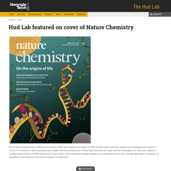 Hud Lab featured on cover of Nature Chemistry | Hud Lab
