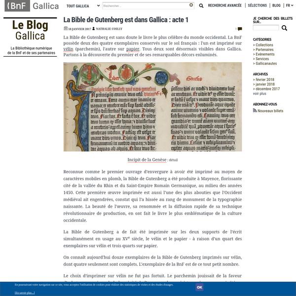 La Bible de Gutenberg est sans doute le livre le plus célèbre du monde occidental. La BnF possède deux des quatre exemplaires conservés sur le sol français : l'un est imprimé sur vélin (parchemin), l'autre sur papier. Tous deux sont désormais visibles dans Gallica. Partons à la découverte du premier et de ses remarquables décors enluminés.