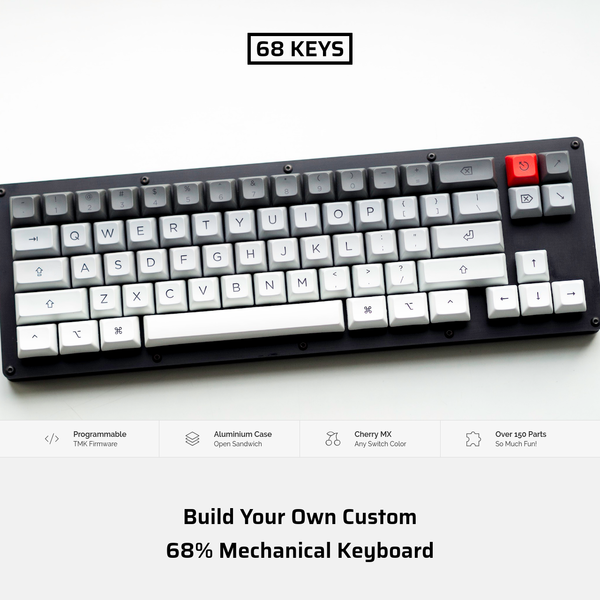 Build your own 68% Mechanical Keyboard! Find all information about the Circuit Board, Aluminium Case, and TMK Firmware. A complete shopping list helps you with ordering all parts, and a detailed DIY guide with photos supports you in building your own keyboard!