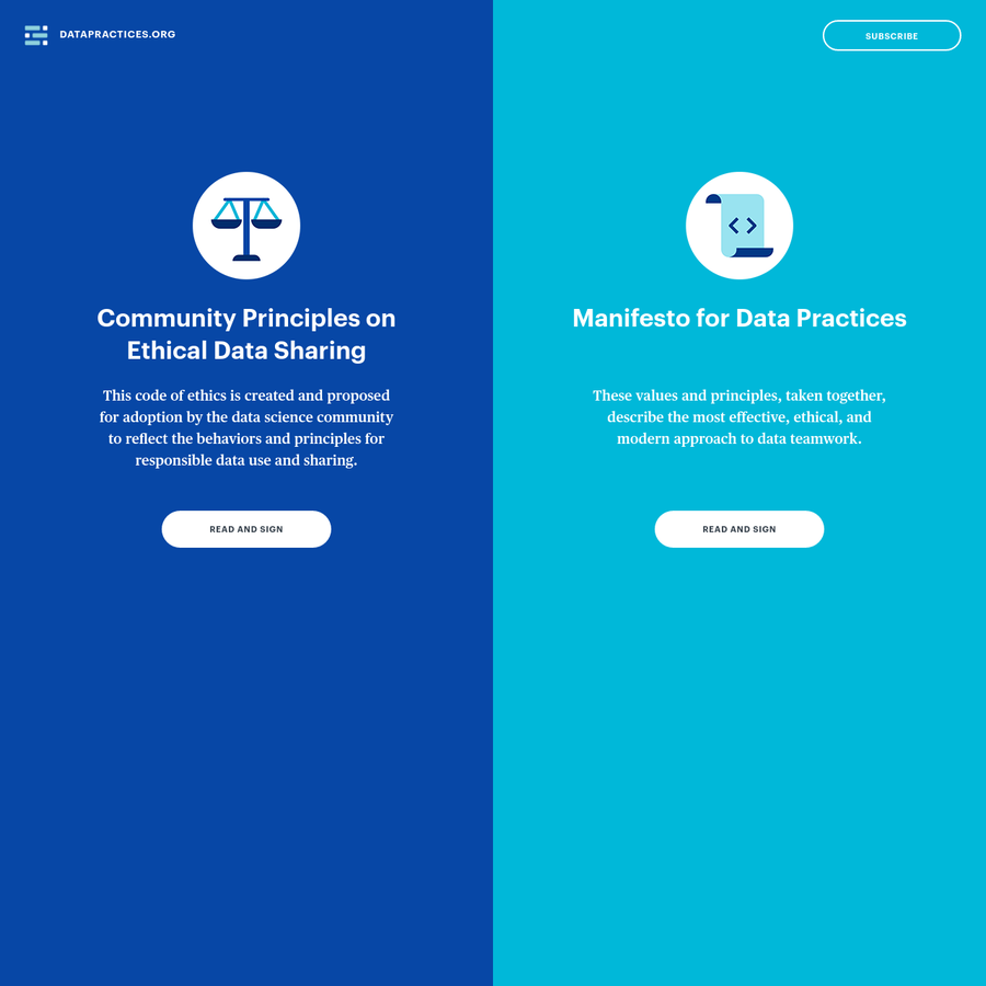 The home of both the Data Practices Manifesto and Community Principles for Ethical Data Sharing (CPEDS).