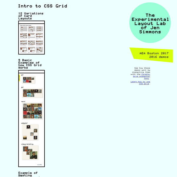 Experiments demonstrating CSS Grid, and what's now possible in graphic design on the web.