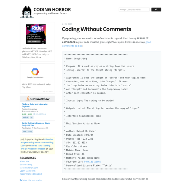 Coding Without Comments