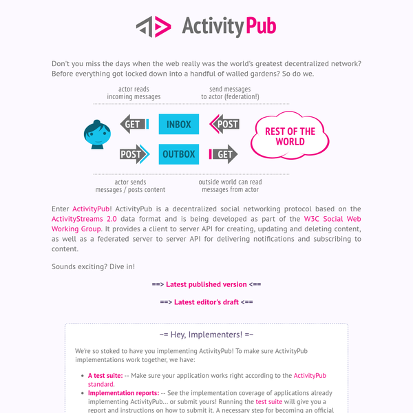 Enter ActivityPub! ActivityPub is a decentralized social networking protocol based on the ActivityStreams 2.0 data format and is being developed as part of the W3C Social Web Working Group. It provides a client to server API for creating, updating and deleting content, as well as a federated server to server API for delivering notifications and subscribing to content.