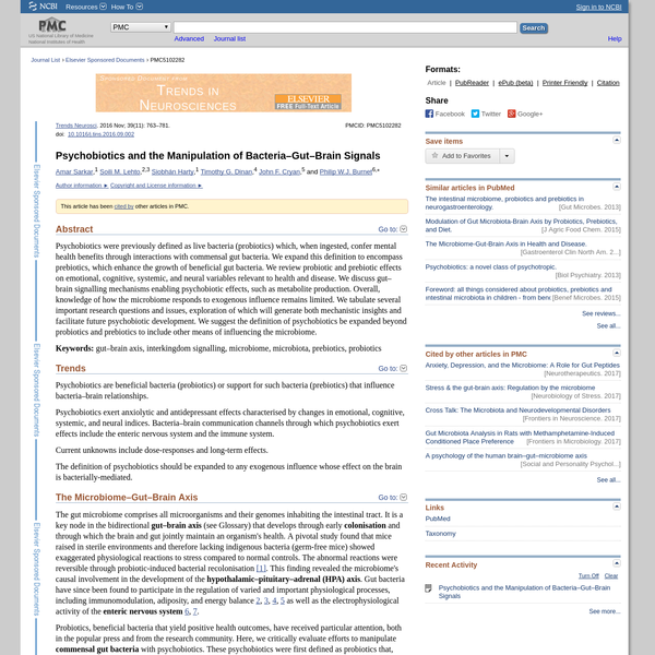Psychobiotics and the Manipulation of Bacteria-Gut-Brain Signals