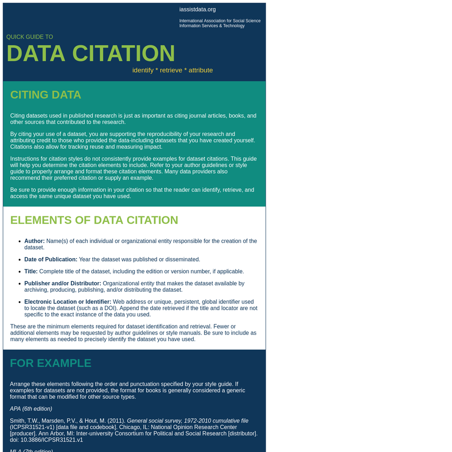 Instructions for citation styles do not consistently provide examples for dataset citations. This guide will help you determine the citation elements to include. Refer to your author guidelines or style guide to properly arrange and format these citation elements. Many data providers also recommend their preferred citation or supply an example.