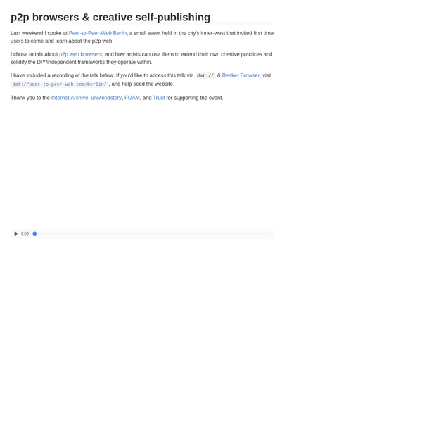 p2p browsers & creative self-publishing - louis.center