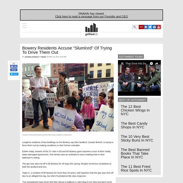"""Bowery Residents Accuse """"Slumlord"""" Of Trying To Drive Them Out"""