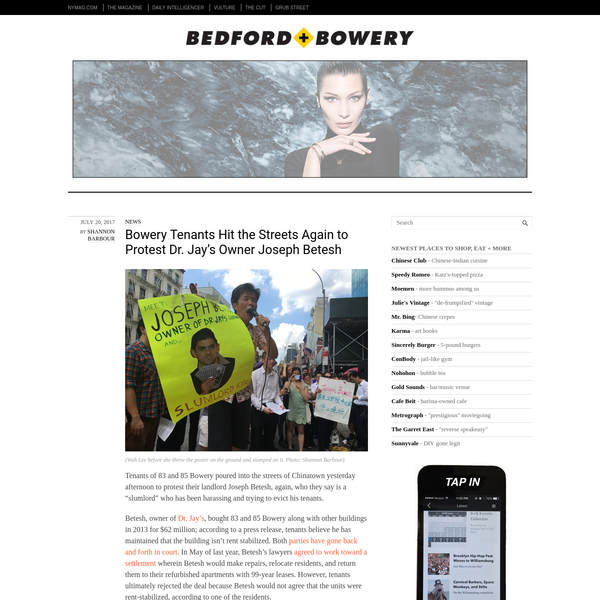 """Tenants of 83 and 85 Bowery poured into the streets of Chinatown yesterday afternoon to protest their landlord Joseph Betesh, again, who they say is a """"slumlord"""" who has been harassing and trying to evict his tenants."""