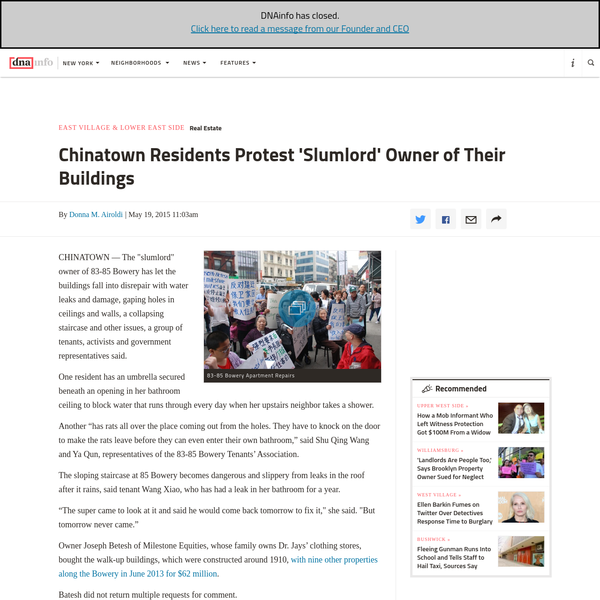 """CHINATOWN - The """"slumlord"""" owner of 83-85 Bowery has let the buildings fall into disrepair with water leaks and damage, gaping holes in ceilings and walls, a collapsing staircase and other issues, a group of tenants, activists and government representatives said."""