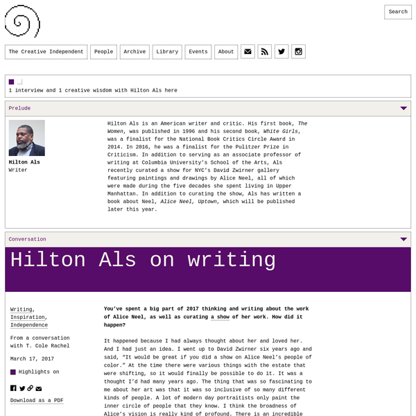 Writer and critic Hilton Als discusses processes and strategies for writing, what it means to respond to art in your work, and how simply not embarrassing yourself can be the most powerful motivator.