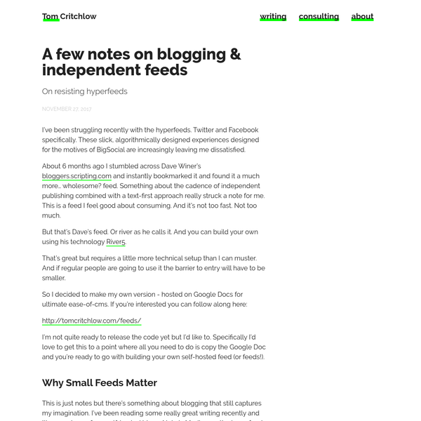 A few notes on blogging & independent feeds